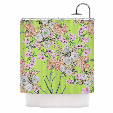 "Zala Farah ""Natural Beauty"" Green Floral Digital Shower Curtain"