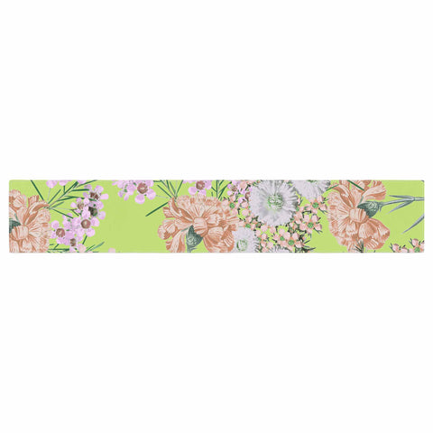"Zala Farah ""Natural Beauty"" Green Floral Digital Table Runner"
