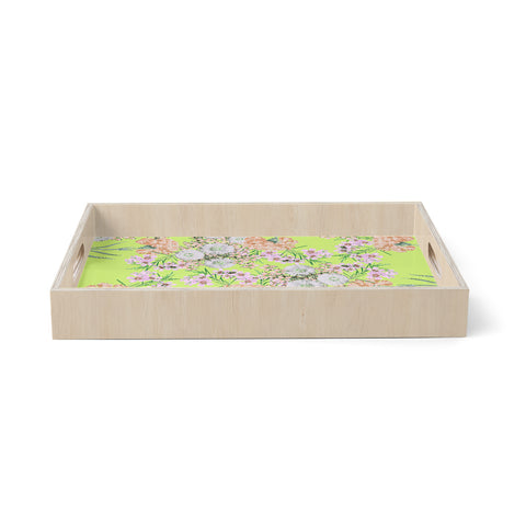 "Zala Farah ""Natural Beauty"" Green Floral Digital Birchwood Tray"