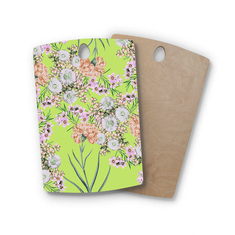 "Zala Farah ""Natural Beauty"" Green Floral Digital Rectangle Wooden Cutting Board"