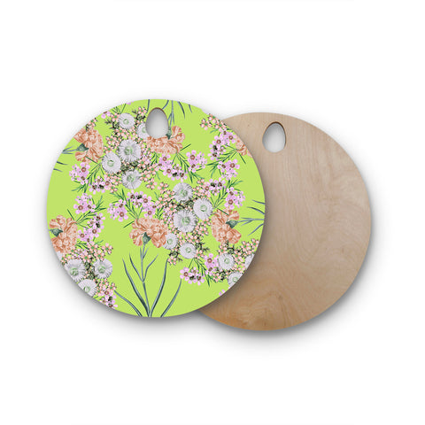 "Zala Farah ""Natural Beauty"" Green Floral Digital Round Wooden Cutting Board"