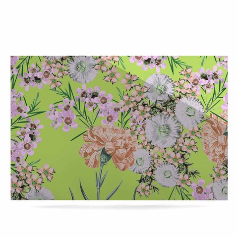 "Zala Farah ""Natural Beauty"" Green Floral Digital Luxe Rectangle Panel"