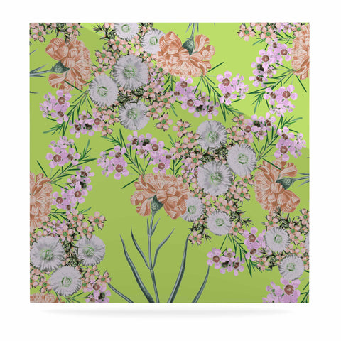"Zala Farah ""Natural Beauty"" Green Floral Digital Luxe Square Panel"
