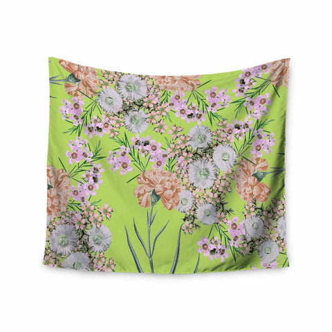 "Zala Farah ""Natural Beauty"" Green Floral Digital Wall Tapestry"