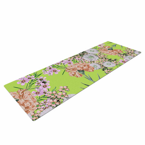 "Zala Farah ""Natural Beauty"" Green Floral Digital Yoga Mat"