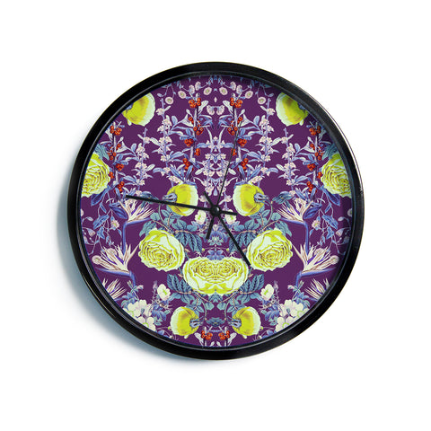 "Zala Farah ""The Bright Night Garden"" Pink,Green,Floral,Digital Modern Wall Clock"