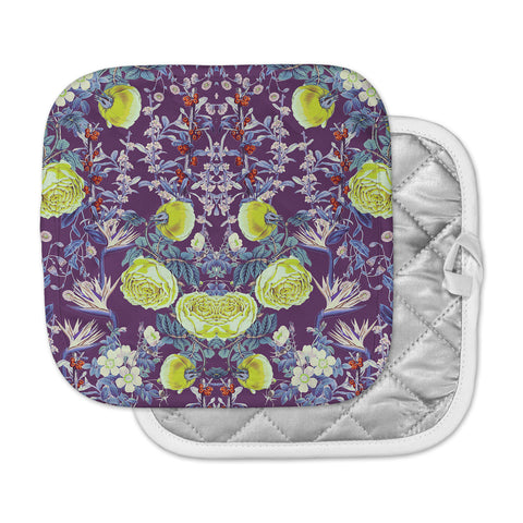 "Zala Farah ""The Bright Night Garden"" Pink,Green,Floral,Digital Pot Holder"