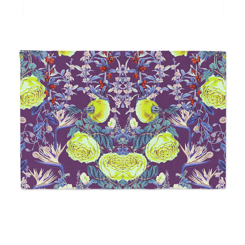 "Zala Farah ""The Bright Night Garden"" Pink,Green,Floral,Digital Place Mat"