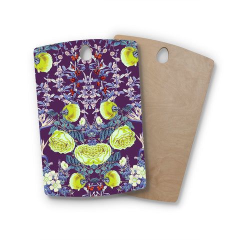 "Zala Farah ""The Bright Night Garden"" Pink,Green,Floral,Digital Rectangle Wooden Cutting Board"