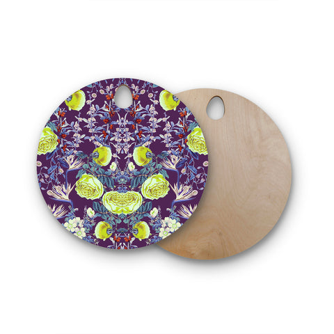 "Zala Farah ""The Bright Night Garden"" Pink,Green,Floral,Digital Round Wooden Cutting Board"