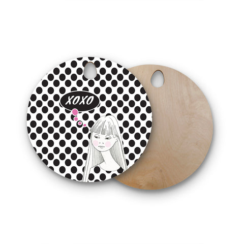 "Zara Martina Mansen ""XOXO Pop Art Polka Dot Girl"" Black White Round Wooden Cutting Board"