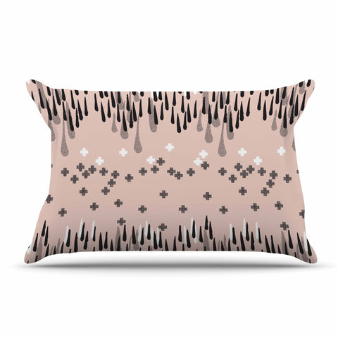 "Zara Martina Masen ""A Drop of Memphis Peach"" Pastel Black Pillow Sham - KESS InHouse"