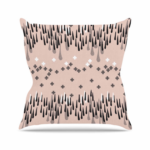 "Zara Martina Masen ""A Drop of Memphis Peach"" Pastel Black Outdoor Throw Pillow - KESS InHouse  - 1"