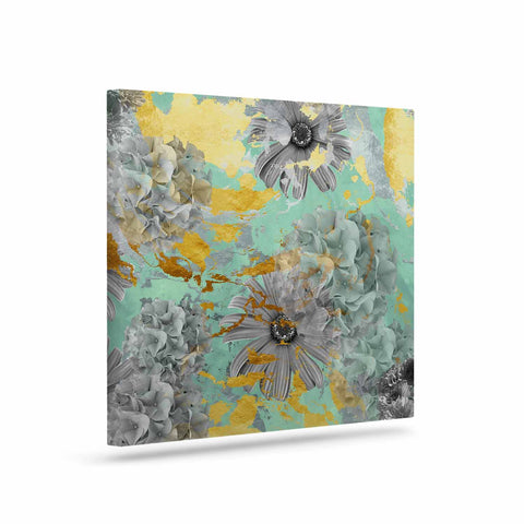 "Zara Martina Mansen ""Mint Gold Garden"" Green Gray Canvas Art - Outlet Item"