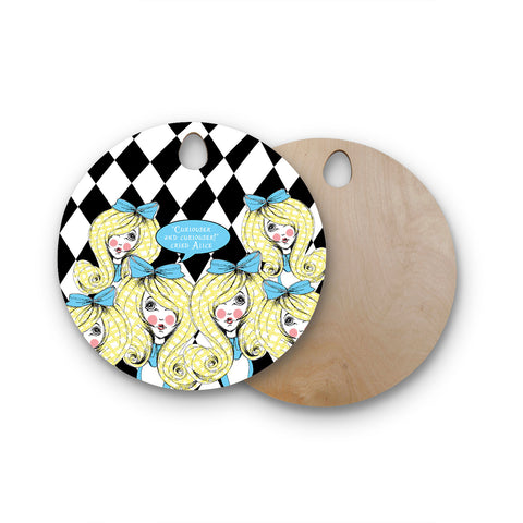 "Zara Martina Mansen Mansen ""Curious Alice"" Round Wooden Cutting Board"