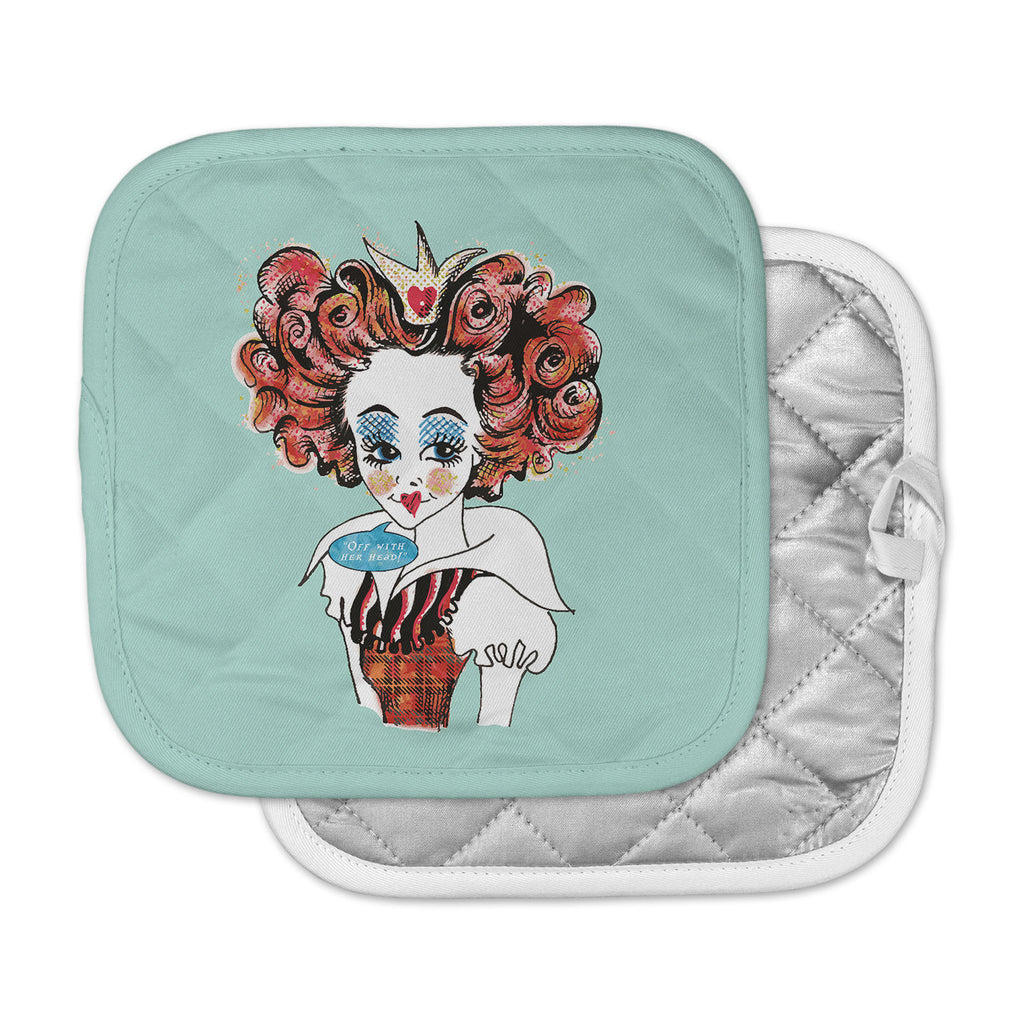 "Zara Martina ""Queen Redhead"" Teal Red Pot Holder"