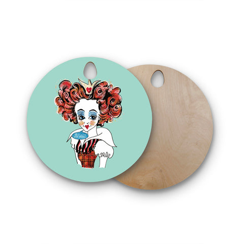 "Zara Martina Mansen Mansen ""Queen Redhead"" Round Wooden Cutting Board"