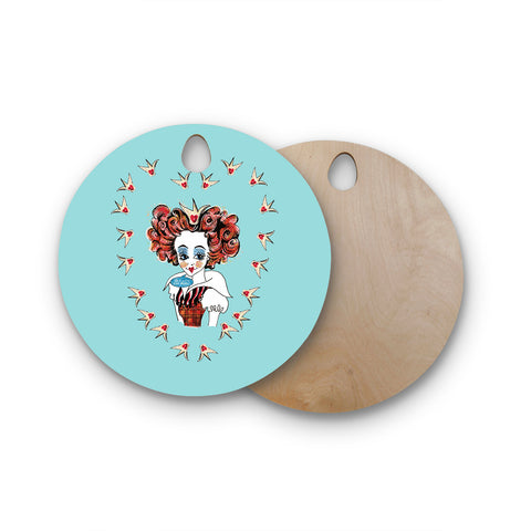 "Zara Martina Mansen Mansen ""Off WIth Her Head"" Round Wooden Cutting Board"