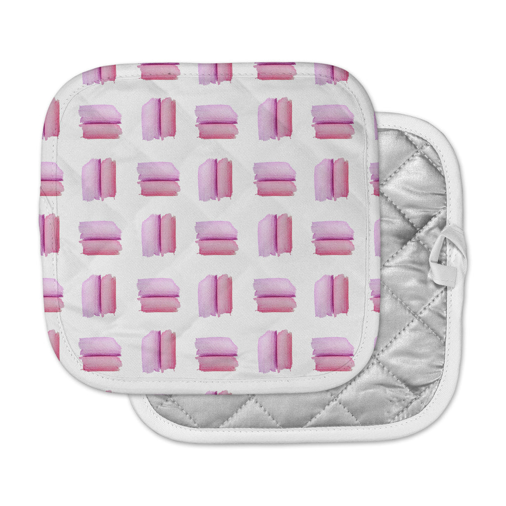 "Zara Martina ""Watercolor Patches"" Pink White Watercolor Pot Holder"