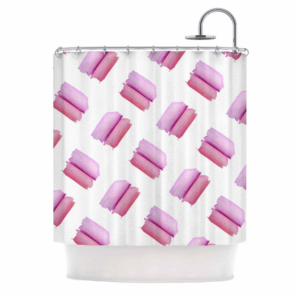 "Zara Martina ""Watercolor Patches"" Pink White Watercolor Shower Curtain"