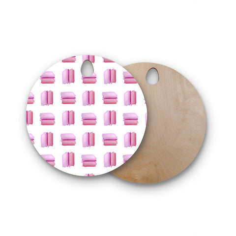 "Zara Martina Mansen Mansen ""Watercolor Patches"" Pink White Watercolor Round Wooden Cutting Board"