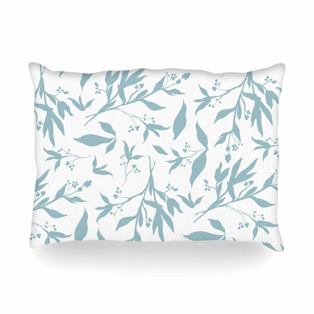 "Zara Martina ""Leafy Silhouettes"" White Blue Painting Oblong Pillow"