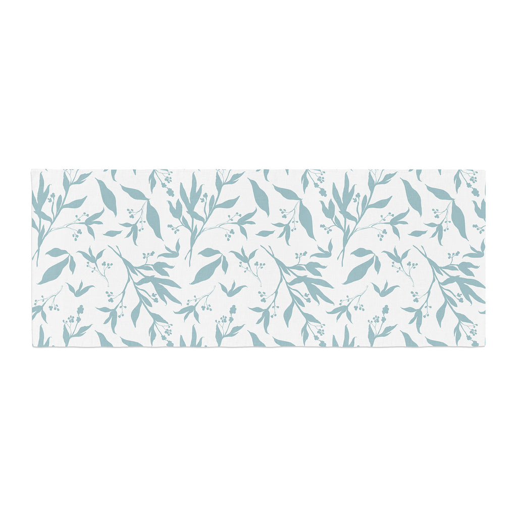 "Zara Martina ""Leafy Silhouettes"" White Blue Painting Bed Runner"