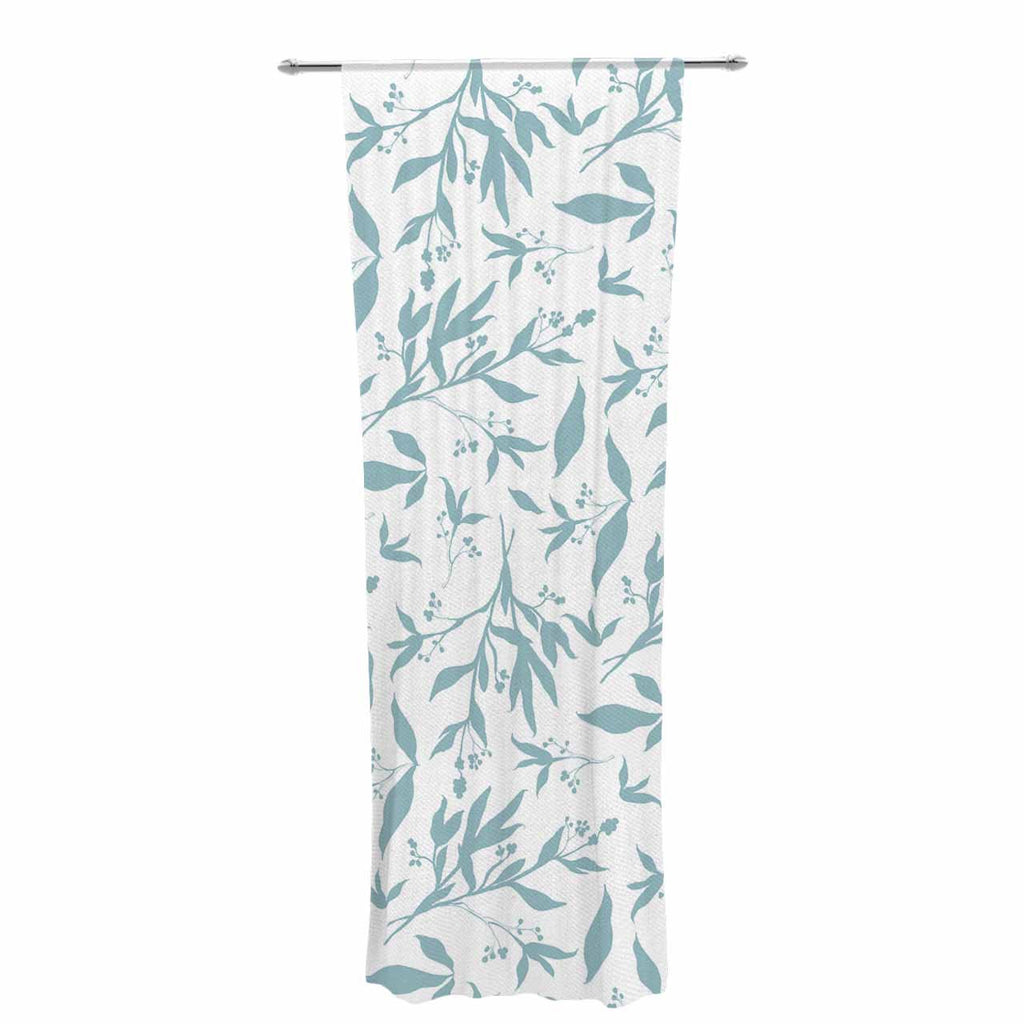 "Zara Martina ""Leafy Silhouettes"" White Blue Painting Decorative Sheer Curtain"