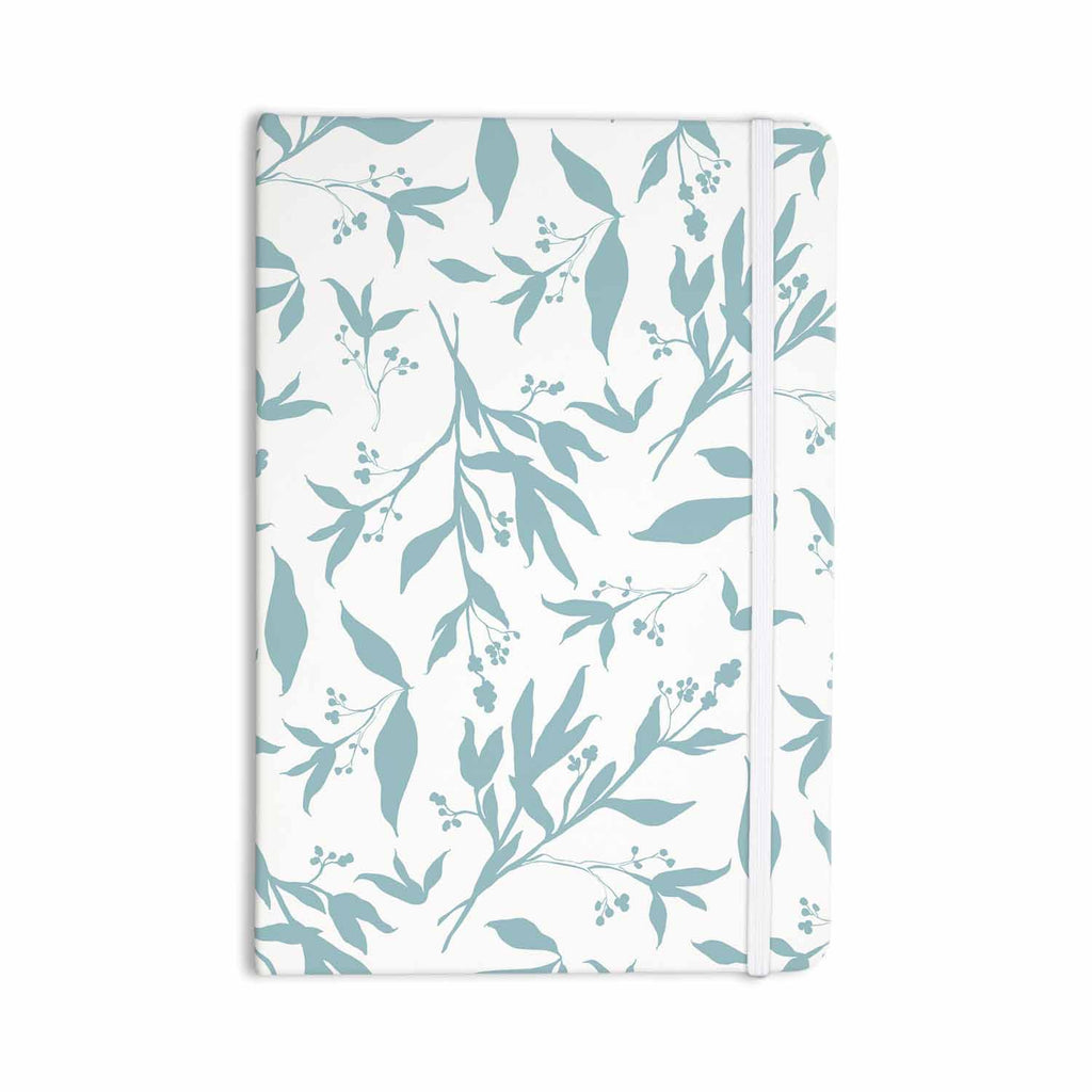 "Zara Martina ""Leafy Silhouettes"" White Blue Painting Everything Notebook - KESS InHouse  - 1"