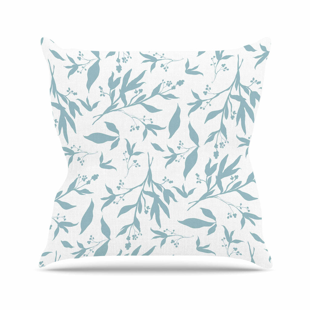 "Zara Martina ""Leafy Silhouettes"" White Blue Painting Throw Pillow"