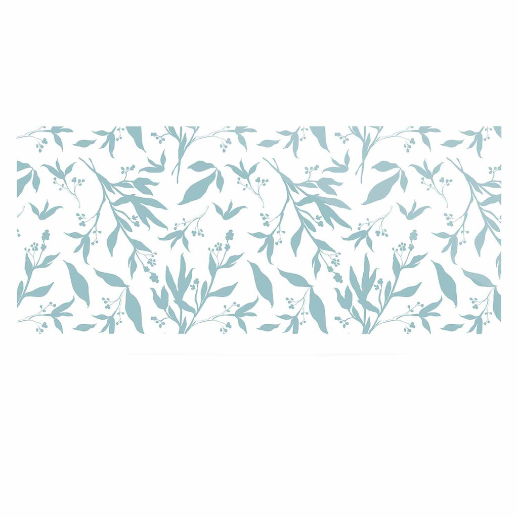 "Zara Martina ""Leafy Silhouettes"" White Blue Painting Luxe Rectangle Panel"
