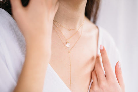 Layered Stone Gold Necklace Throwing Stars Jewelry