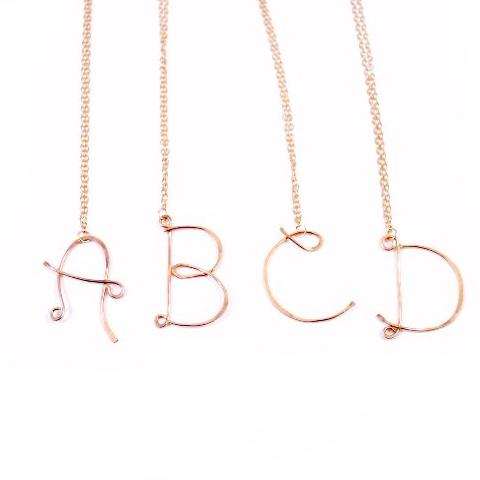 Initial Letter Necklace - Caps