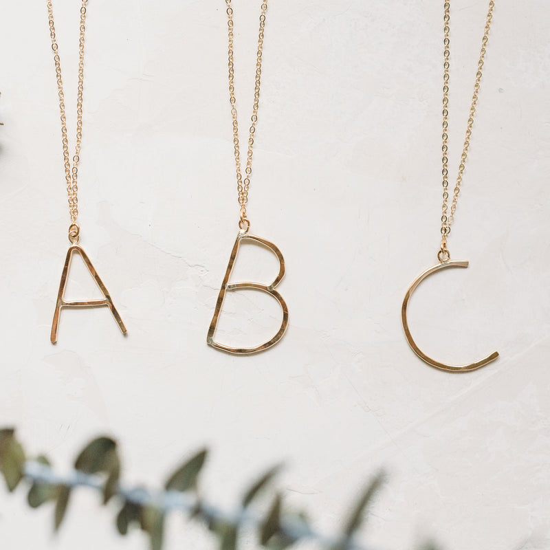 Block Letter Initials - 14k Gold Filled & Sterling Silver