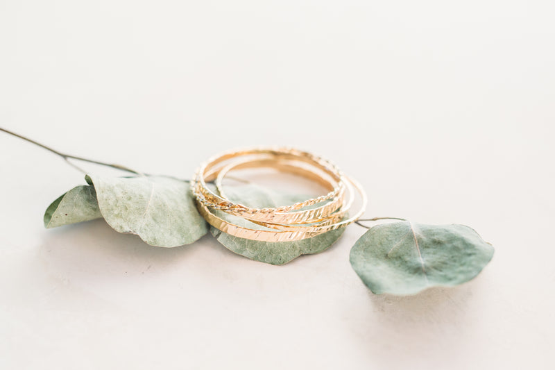 Heart & Soul Thick Hammered Bangle - Individual