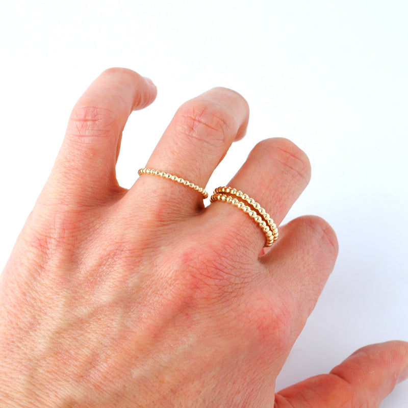 Simply Beaded, 14k Gold Filled Beaded Stacking Rings