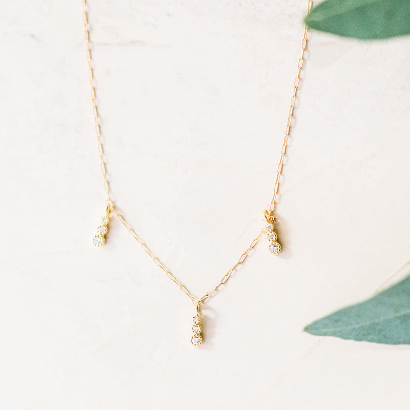 Triple Charm CZ Layering Necklace