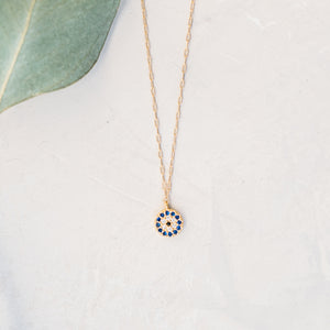 Evil Eye Circle Charm Necklace