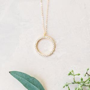 Large CZ Circle Outline Necklace