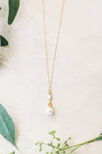 Elegant Pearl Drop Necklace - CZ & Pearl Dangle