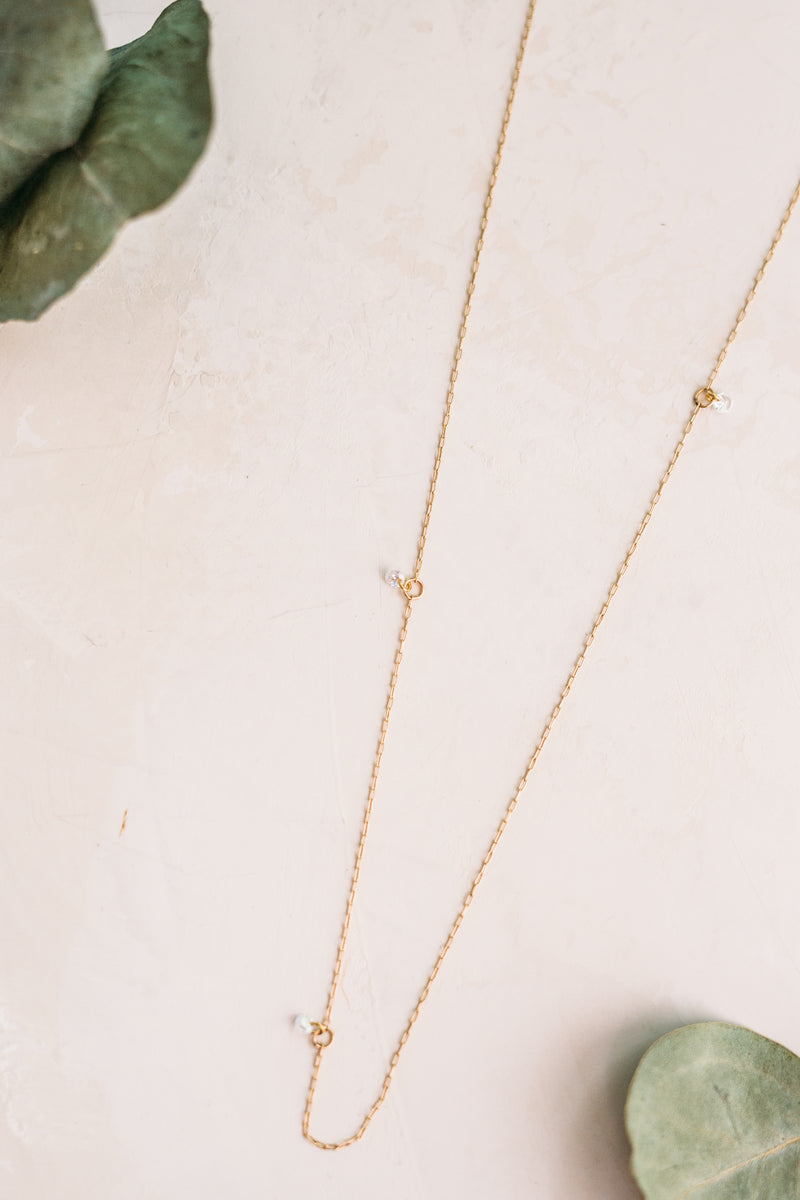 Careless Whisper Dainty Necklace w/ CZ Accents