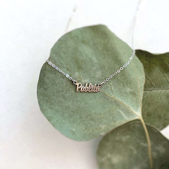 Dainty Script Name Necklace in Sterling Silver and Gold