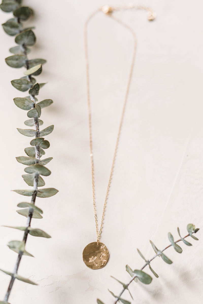 Dandelion Wishes Stamped Necklace - 14k Gold Filled