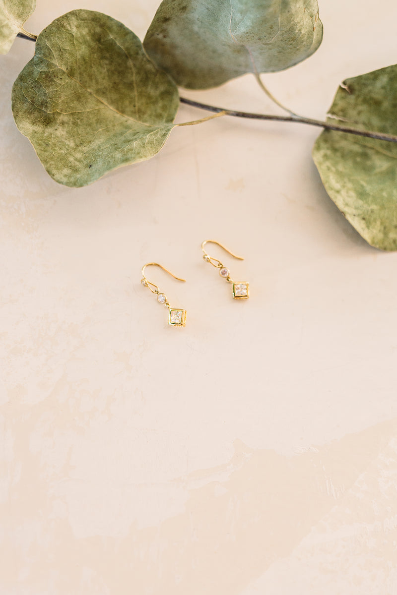 Elegant Drop - CZ Square Drop Earrings