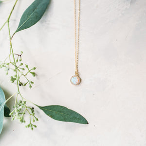 Round Opal Halo Charm Necklace