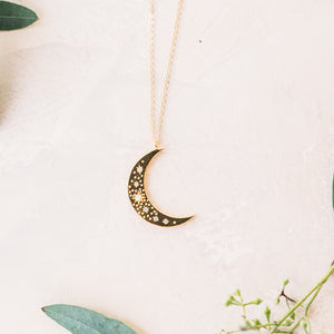 Opal Crescent Moon Necklace