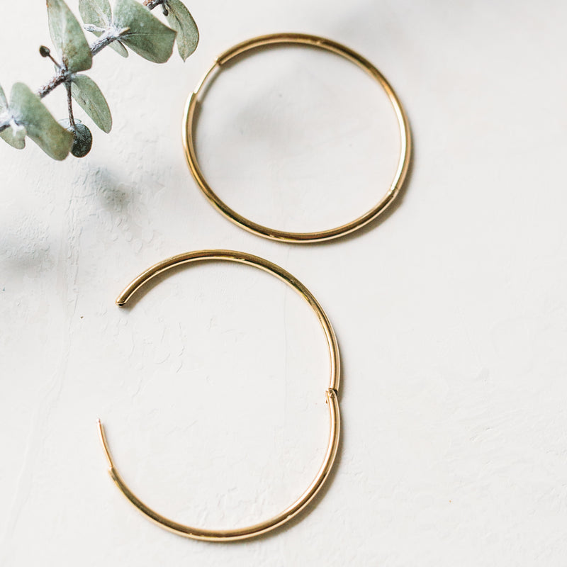 Hinged Hoop Earrings- 14k Yellow Gold, 14k White Gold & 14k Rose Gold