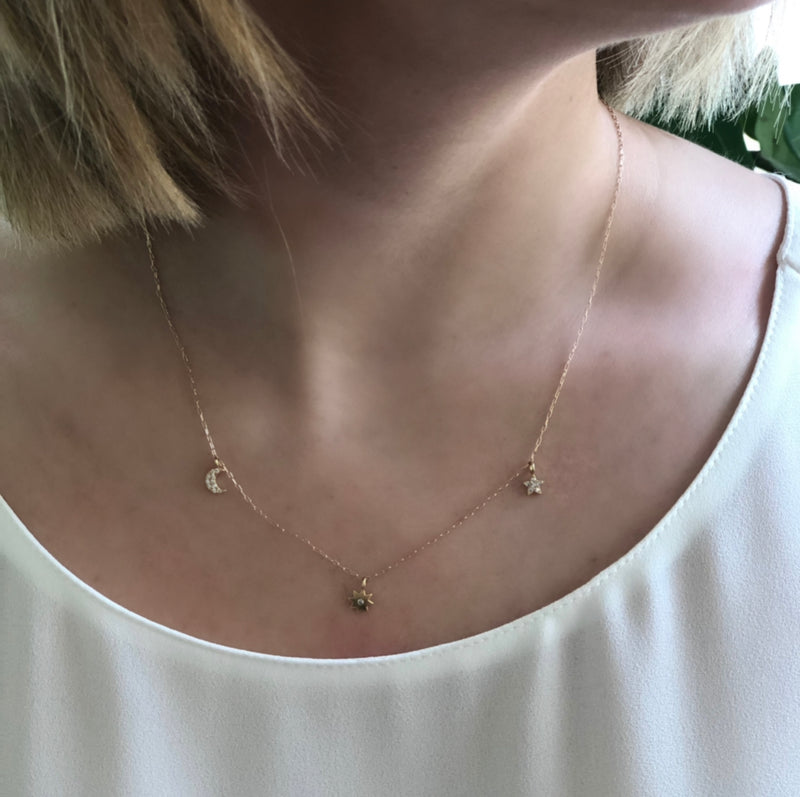 Triple Diamond Star Necklace