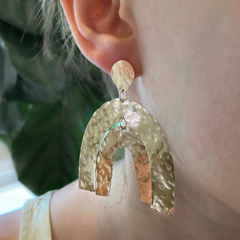 Large Hammered Rainbow Earrings - 14k Gold Filled and Sterling Silver