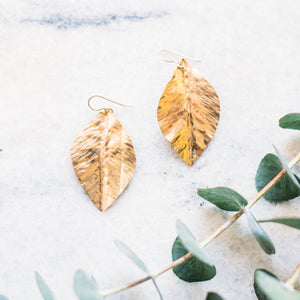 Brilliant Textured Leaf Earrings